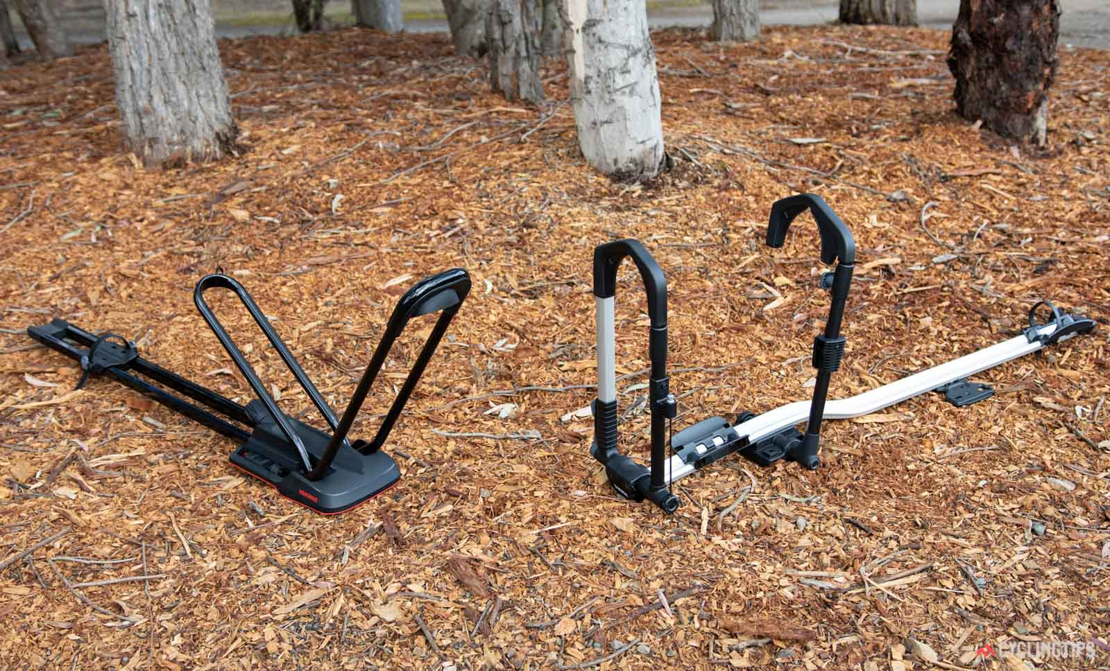 Yakima HighRoad versus Thule UpRide bike carrier review on ground
