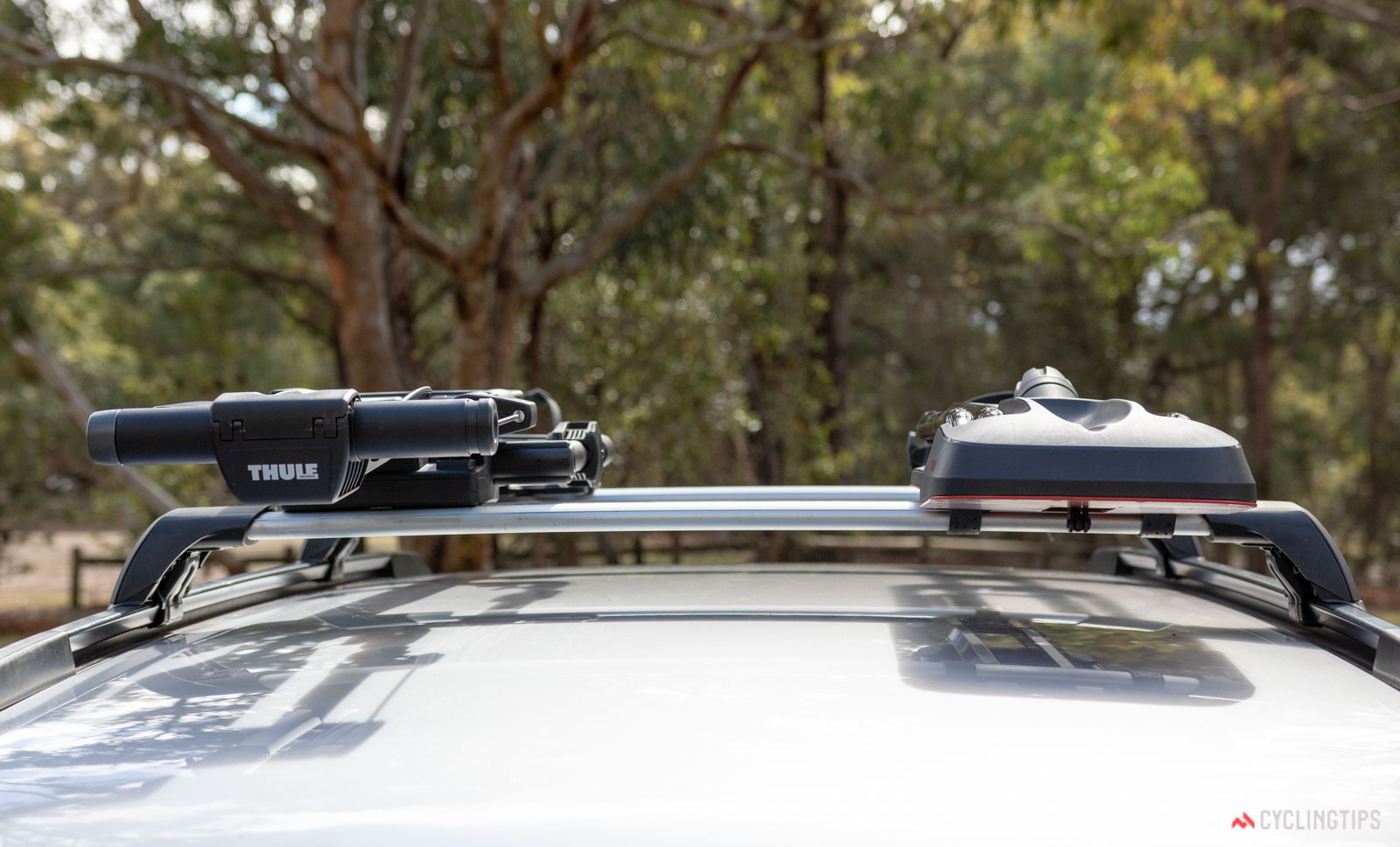 akima HighRoad versus Thule UpRide bike carrier review front on perspective